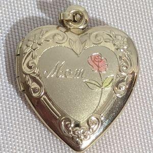 Vintage 14k Gold Filled Mom Heart Rose Locket